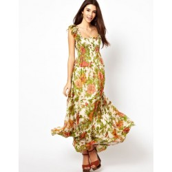 Vestido Estampado Maxi Dress Floral Casual