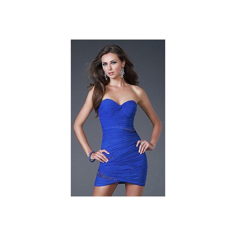 Vestido Azul Festa Justo Decote Coracao Curto