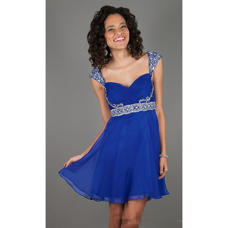 Vestido Festa Curto com Brilho Chiffon Azul