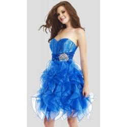 Vestido Festa Curto Tafeta e Tule Azul Brilho