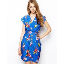 Vestido Estampado Azul Floral Decote Transpassado