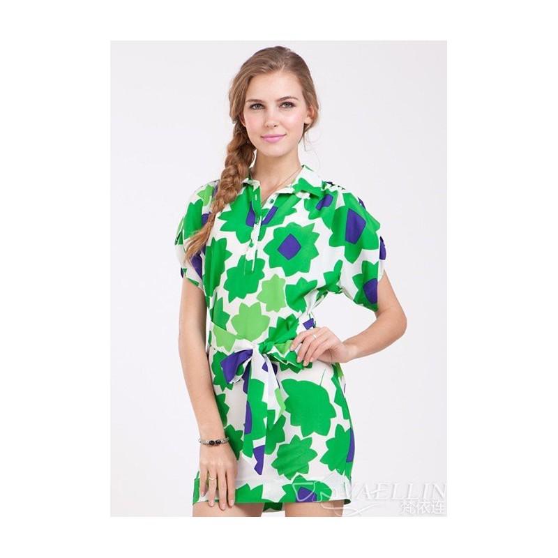 Vestido Casual Verde Estampado Curto com Mangas