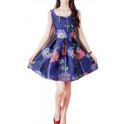 Vestido de Cetim Estampado Floral Azul