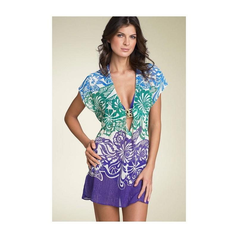 Vestido Estampado Azul Floral Decote em V