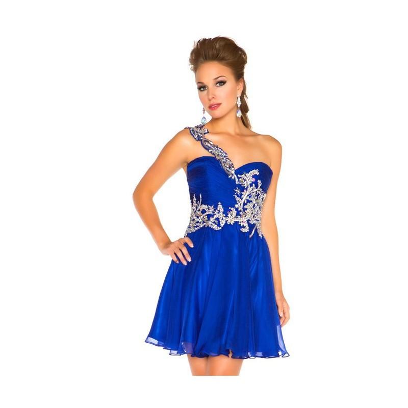 Vestido Festa Alcinhas Azul com Pregas e Brilho