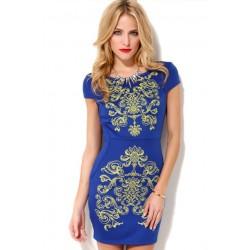 Vestido Azul Estampado Dourado Curto