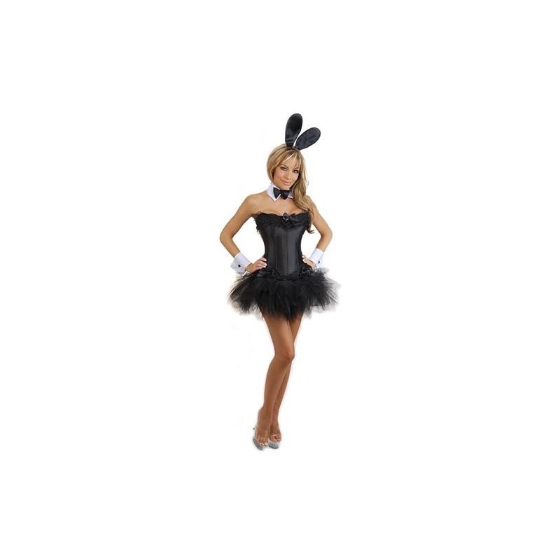 Fantasia Feminina Coelhinha Da Playboy Corpete Preto Carnaval