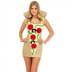 Fantasia Feminina Pedaço de Pizza Carnaval Halloween