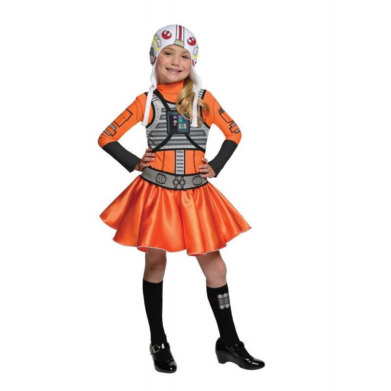 Fantasia Infantil Meninas Piloto Star Wars Carnaval Halloween