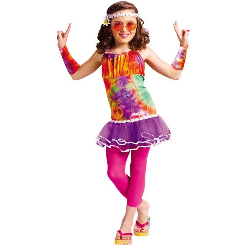 Fantasia Infantil Hippie Anos 70 Meninas Carnaval Halloween