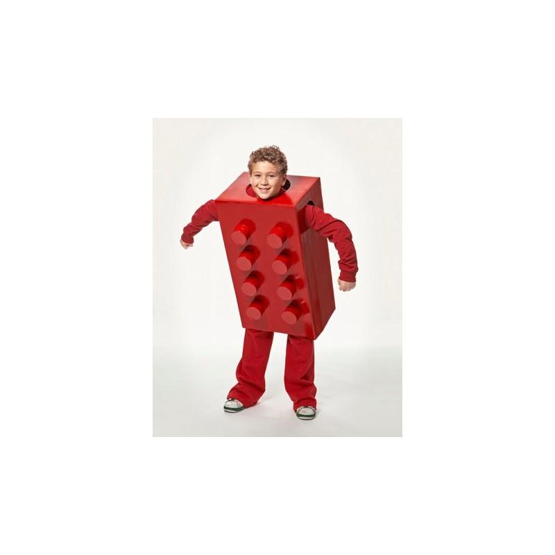 Fantasia Infantil de Peça de Lego Vermelho Carnaval Halloween