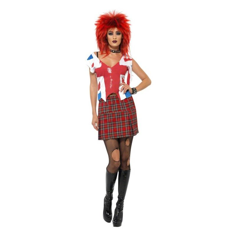 Fantasia Feminina Punk Rock com Peruca Carnaval Halloween