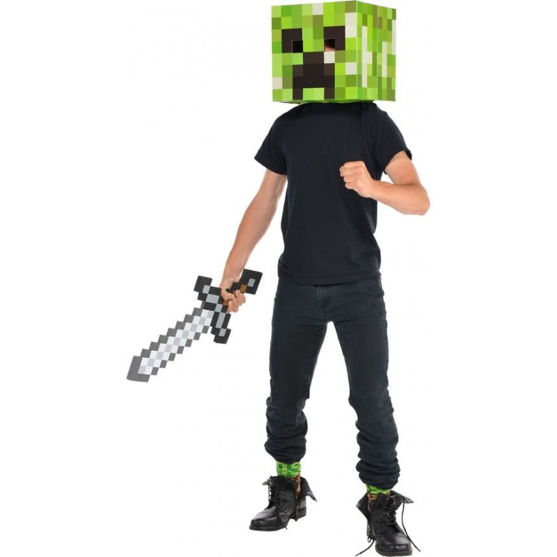 Fantasia Masculina Minecraft Creeper Cabeça  e Espada para Carnaval ou Halloween