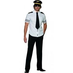 Fantasia Masculina Piloto de Avião para Carnaval ou Halloween