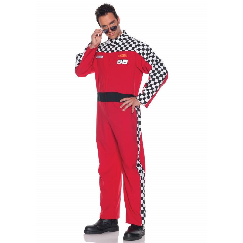 Fantasia Masculina Piloto de Corrida Fórmula 1 para o Carnaval ou Halloween