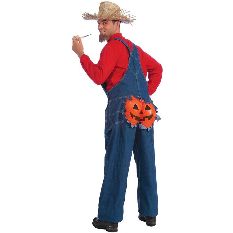 Fantasia Masculina Fazendeiro Plantador de Abóbora para Carnaval ou Halloween