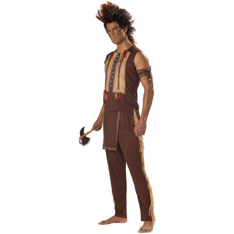 Fantasia Masculina Nobre Guerreiro Indígena Carnaval Halloween