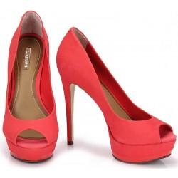 Sapato Feminino Peep Toe Vermelho Salto Alto Agulha