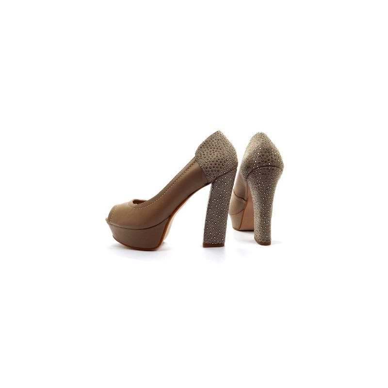 Sapato Feminino Peep Toe Nude Bege Salto Grosso com Strass
