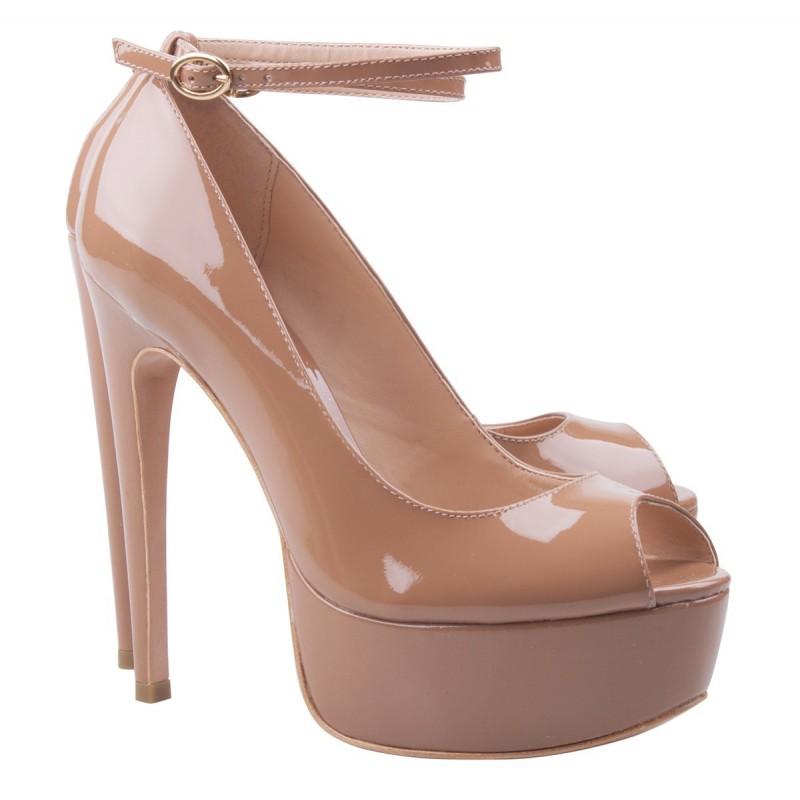 Sapato Feminino  Peep Toe Nude Rosa Verniz Maxi Salto Agulha