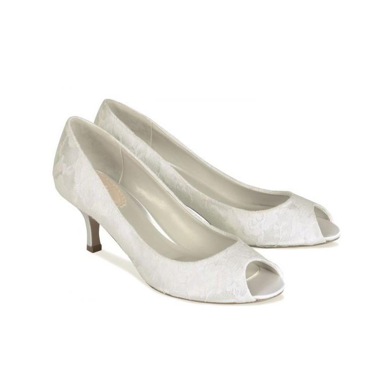 Sapato Feminino Peep Toe com Renda Branco Noivas Salto 5cm