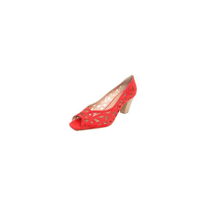 Sapato Feminino Scarpin Rosa Vazado Flores  Salto Agulha