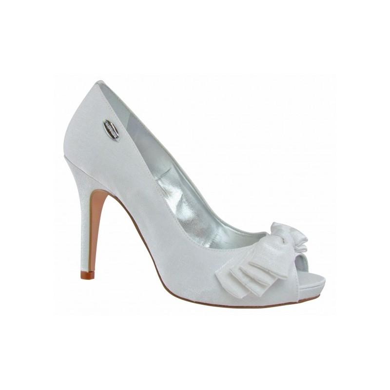 Sapato Feminino Peep Toe Branco com Laço de Cetim Alto Noivas