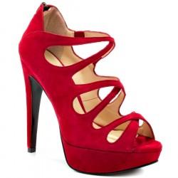 Sapato Feminino Peep Toe Vermelho Salta Alto 12cm