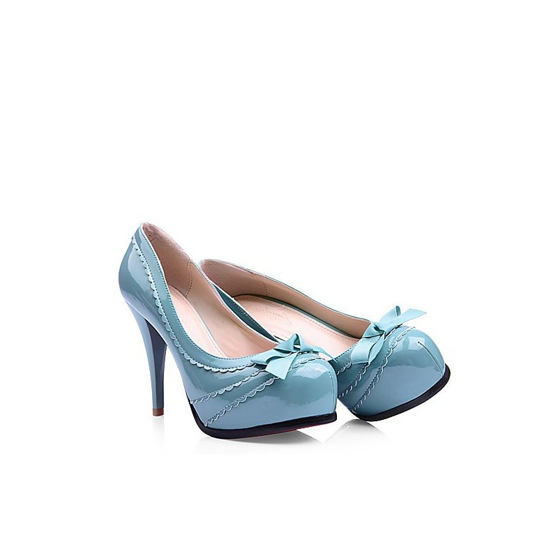 Sapato Feminino Scarpin Azul Celeste com Laço