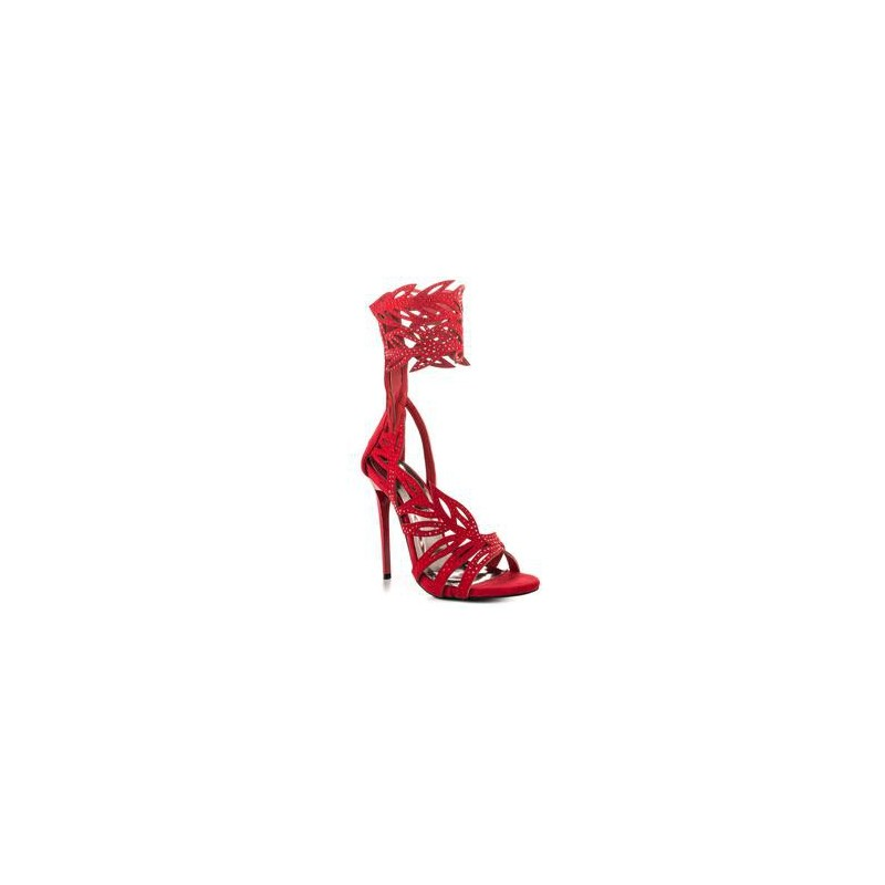 Sandália Feminina Vermelha Salto Alto Agulha 15cm