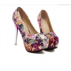 Scarpin Feminino Estampado Floral Salto Maxi  Rosa
