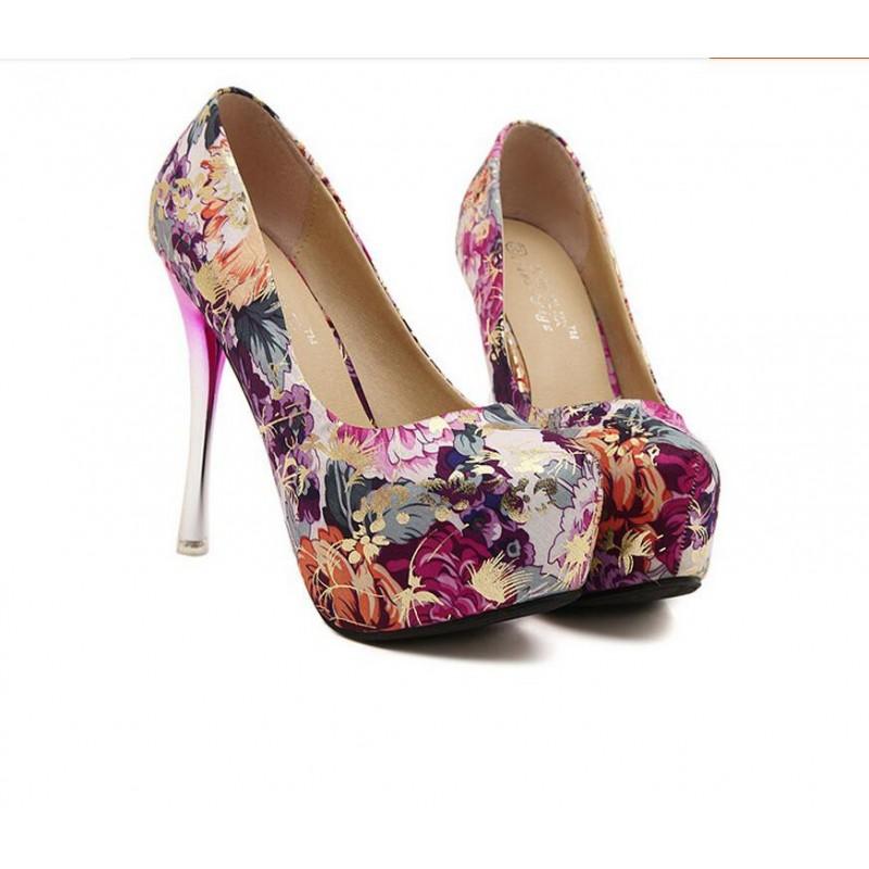126b190ffa Scarpin Feminino Estampado Floral Salto Maxi Rosa