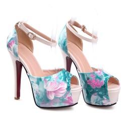 Sapato Feminino Peep Toe Estampado Floral Verde Salto Alto Maxi
