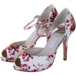 Sandália Peep Toe Feminina Estampada Floral Branco e Vermelho Salto Alto 8cm