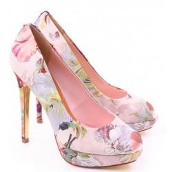 Sapato Feminino Peep Toe Floral Estampado Salto Alto