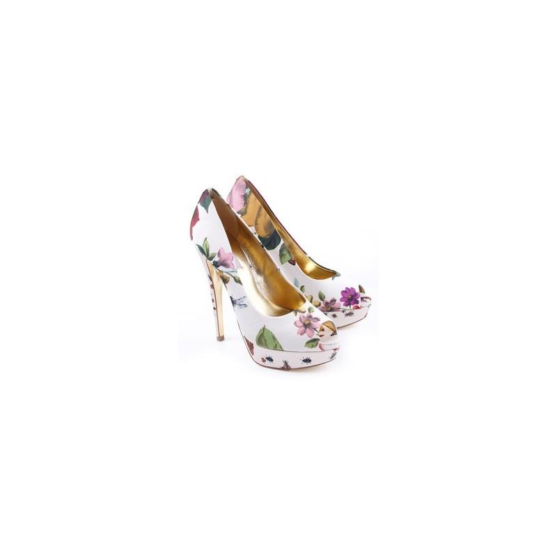 Sapato Feminino Peep Toe Floral Branco Estampado Salto Alto