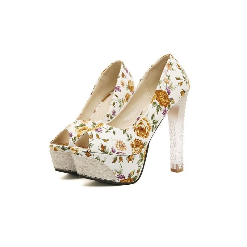 Sapato Feminino Peep Toe Floral Branco Estampado Salto Maxi Alto Transparente