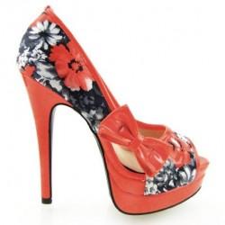 Sapato Feminino Peep Toe Floral Vermelho Estampado Salto Maxi Alto 15cm