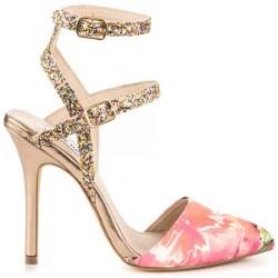 Sandália Feminina Estampada Floral com Brilho