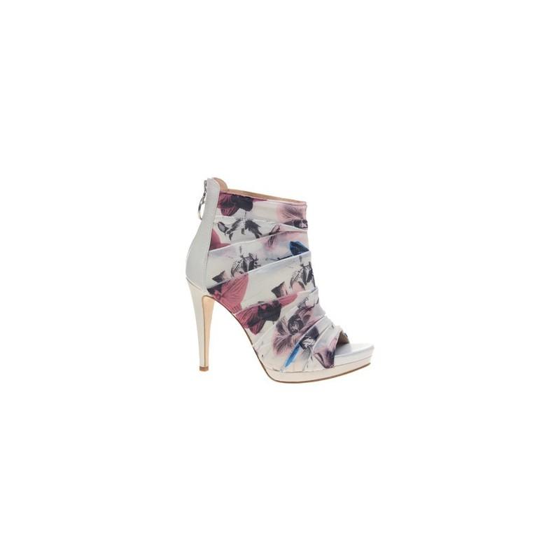 Sapato Feminino Estampado Floral com Pregas Peep Toe
