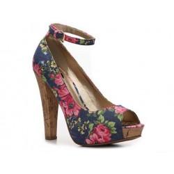 Sapato Feminino Peep Toe Estampado Floral Azul Salto de Cortiça