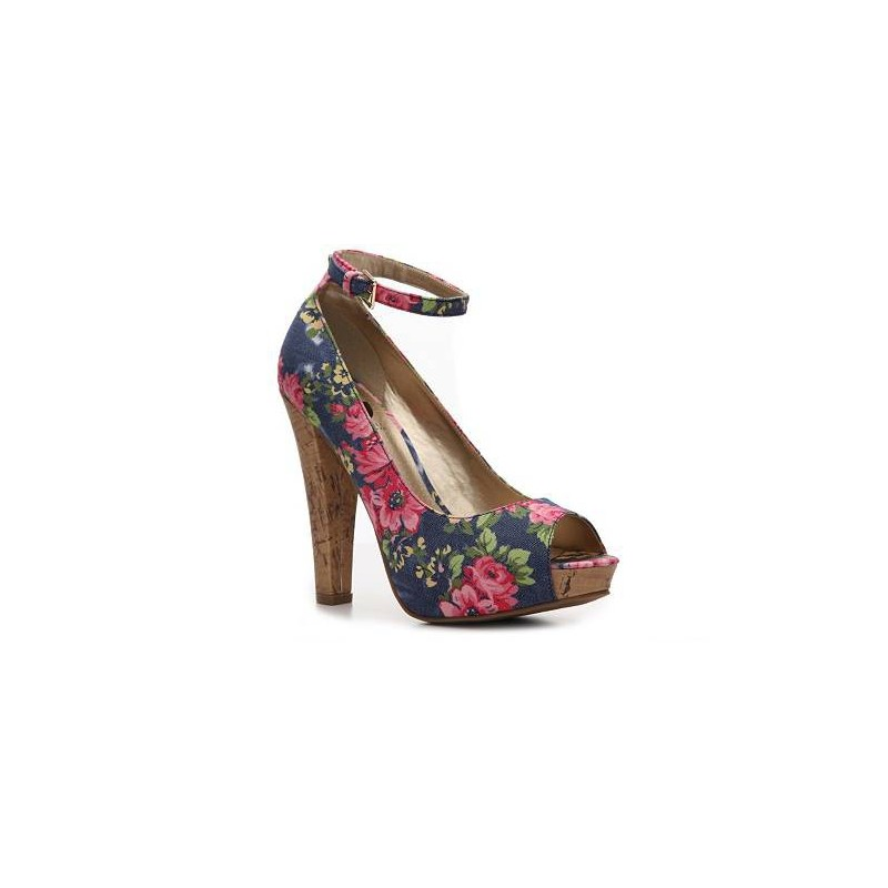 1e05a5e3a8 Sapato Feminino Peep Toe Estampado Floral Azul Salto de Cortiça