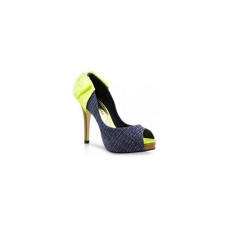Sapato Feminino Peep Toe Jeans com Verde