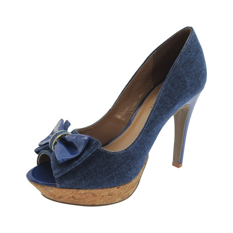 Sapato Feminino Peep Toe Jeans com Laço Azul Salto 10cm