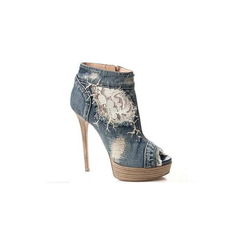 Sapato Feminino Peep Toe Jeans com Renda Salto Alto 15cm