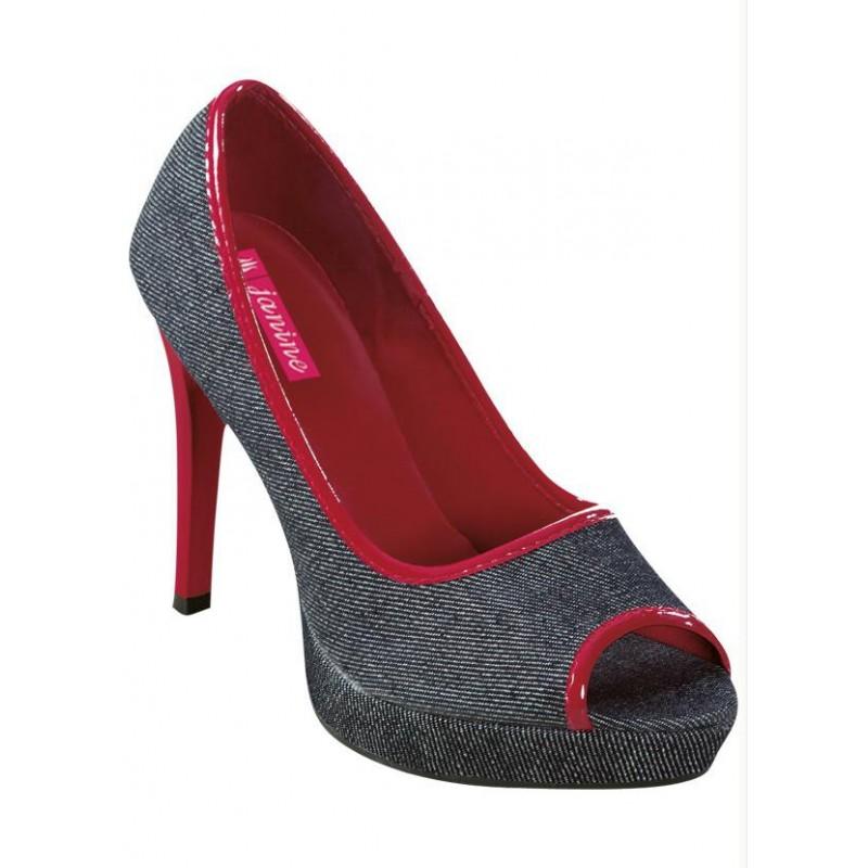 Sapato Feminino Peep Toe Jeans com Vermelho Salto 10cm