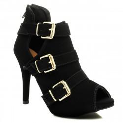 Sapato Feminino Peep Toe Preto Couro com 3 Fivelas Douradas
