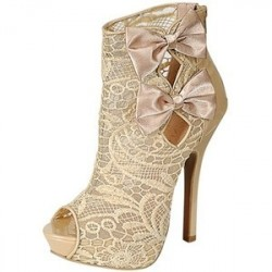Sapato Feminino Nude Luxo Renda Laços de Cetim