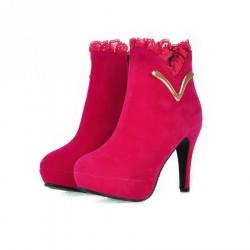 Bota Feminina Cano Médio Rosa Pink com Renda Salto 12cm
