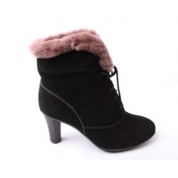 Bota Feminina Unkle Boot Cano Curto Camursa Preta com Lã